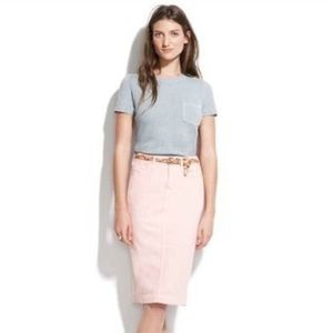 NWT Madewell bubblegum pink denim pencil skirt